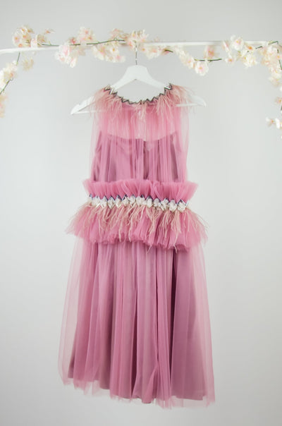 Unique, handmade, knee-length flower girl dress, pink with a tulle skirt, gathered waistline with feathers and ruffles, for special occasions, weddings