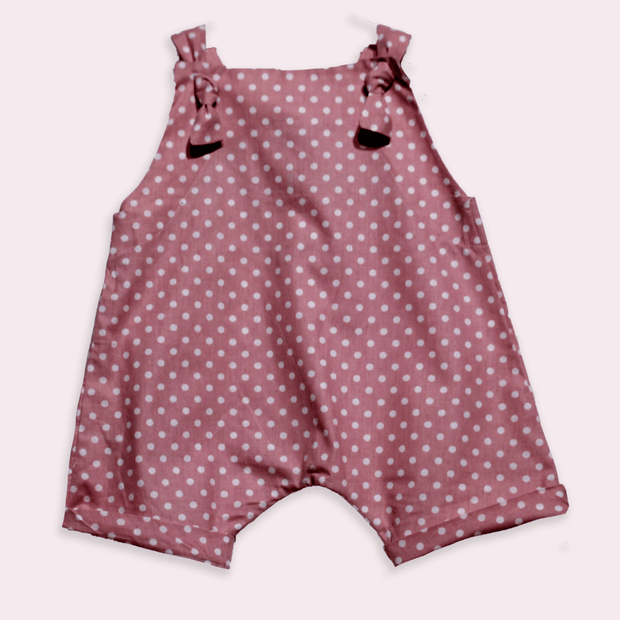children's clothes - baby clothes - baby jumpsuit - children's jumpsuit - pink jumpsuit - dot pattern