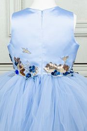 handmade, light blue princess girl dress with asymmetrical tiered tulle skirt, sequin embroidery, for weddings, flower girls, birthdays