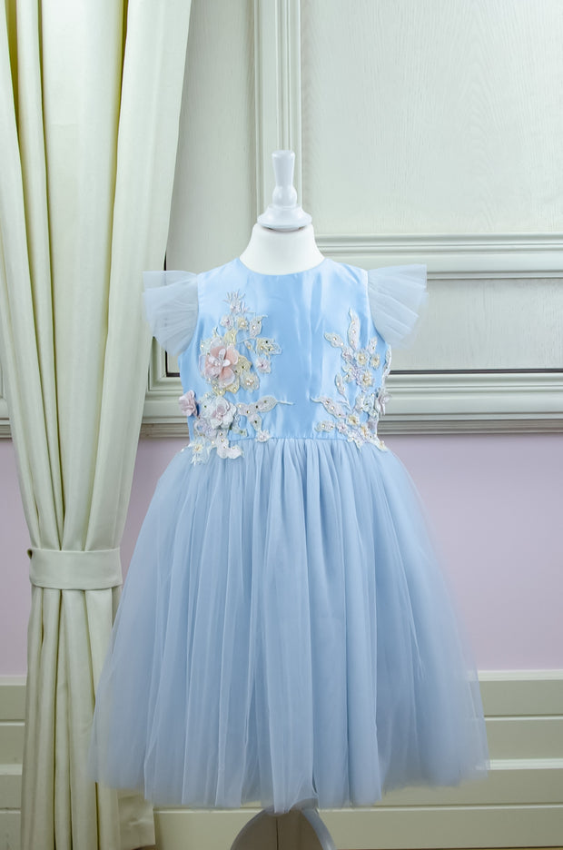blue flower girl dress with satin upper part decorated by 3d floral embellishment and multi-layer tulle skirt