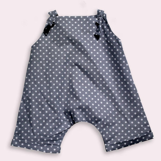 children's clothes - baby clothes - baby jumpsuit - children's jumpsuit - gray jumpsuit - dot pattern