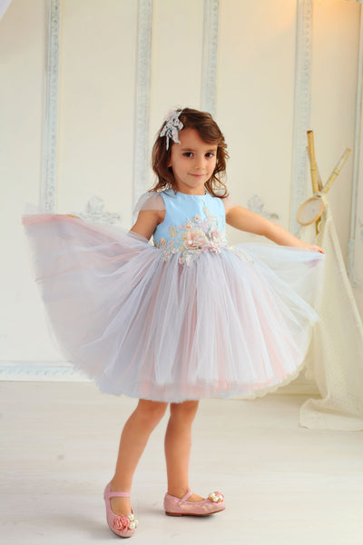 little girl dresses in  blue and pink tulle dress for birthday and special events
