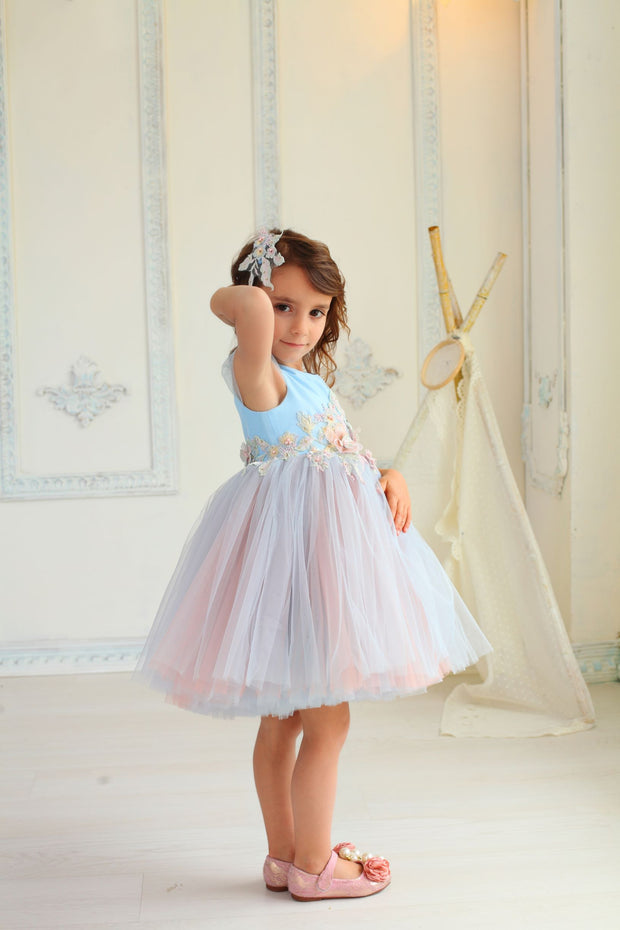 beautiful girl dress with blue and pink tulle skirt decorated by waistline floral embellishment