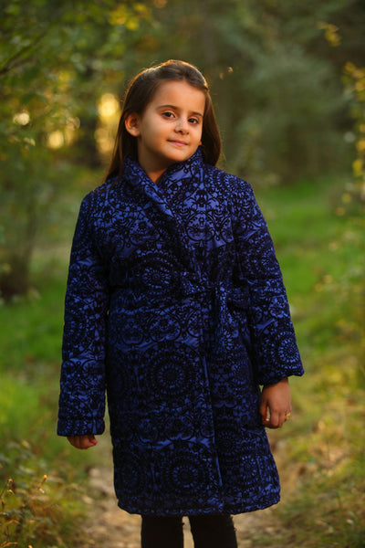 children's clothes - children's winter clothes - children's jacket - children's winter jacket - winter jacket - down jacket - long jacket - blue jacket - floral jacket