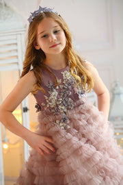handmade long princess tulle girl dress in dark purple with a multi-layered tulle skirt and top embroidered with flowers, for flower girls, birthdays, wedding guest