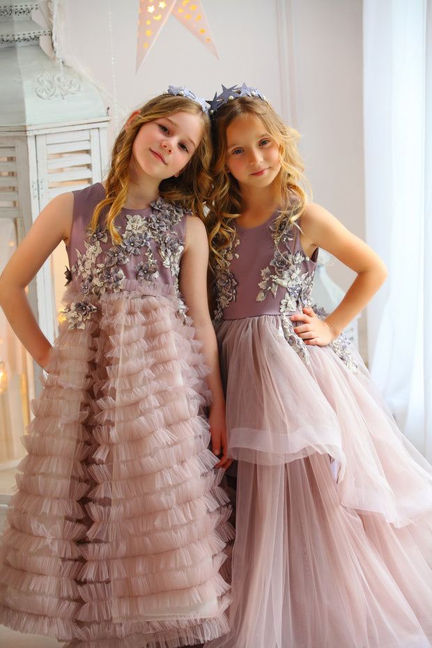 Long purple flower girl dress with a ruffled tulle skirt and flower-embroidered top - Girl dress for special occasions