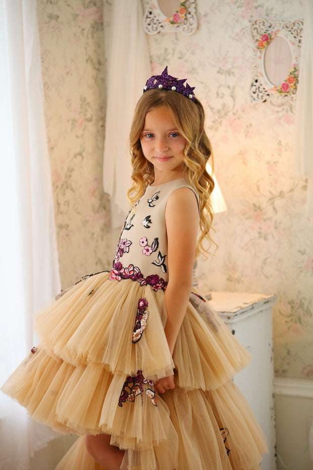 Handmade long beige multi-layered tulle dress with red and burgundy floral embroidery, shorter front side and long back side of the tulle skirt, for flower girls, weddings, birthdays