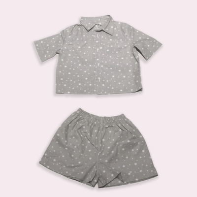 children's clothes - baby clothes - babyboy set - babyboy clothes - babyboy shorts - babyboy shirt - short sleeved set - star pattern