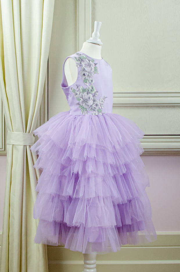 purple tulle girl dress with floral embellishment for special occasions