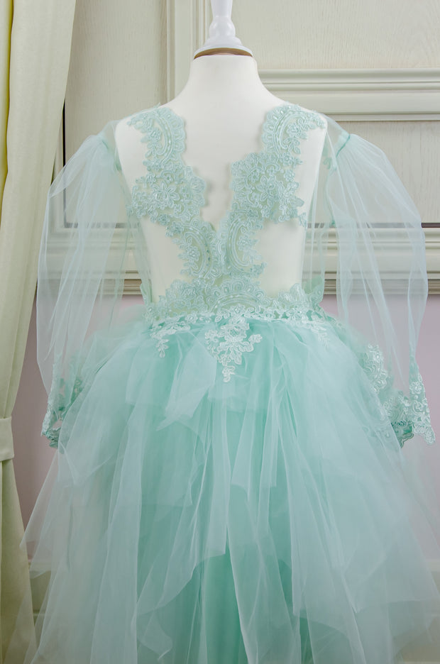 mint midi girl party dress with multi-layer tulle skirt and lace details