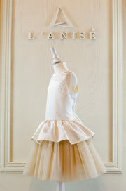 elegant, handmade, satin tulle flower girl dress with peplum waistline and lace embroidery