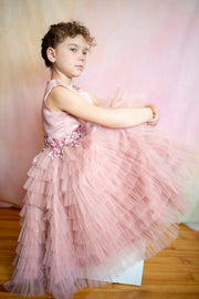 handmade, princess flower girl dress with ruffled tulle layers and floral embroidery