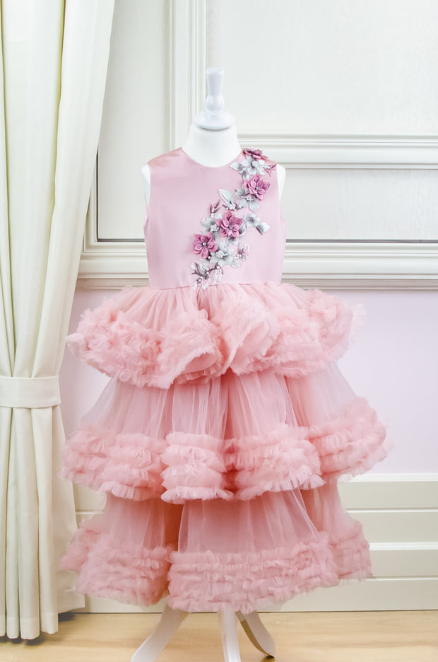 Midi blush pink princess tulle dress for girls with a multi-layered tulle skirt with ruffles and a top embroidered with flowers and pearls, flower girl dress, wedding dress