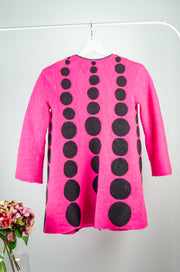 unique, handmade, bright pink felt wool fall coat for girls, made of natural wool with a black dots pattern