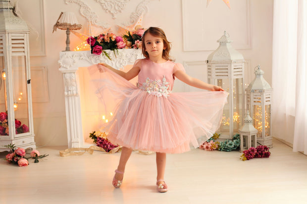 pink girl dress with multi-layer tulle skirt and floral embellishment