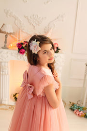 pastel oink girl dress with bow on the back