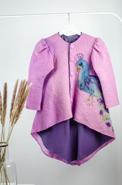 unique, handmade, purple and pink felt wool coat for girls for fall with a longer back side, buttons and a peacock pattern