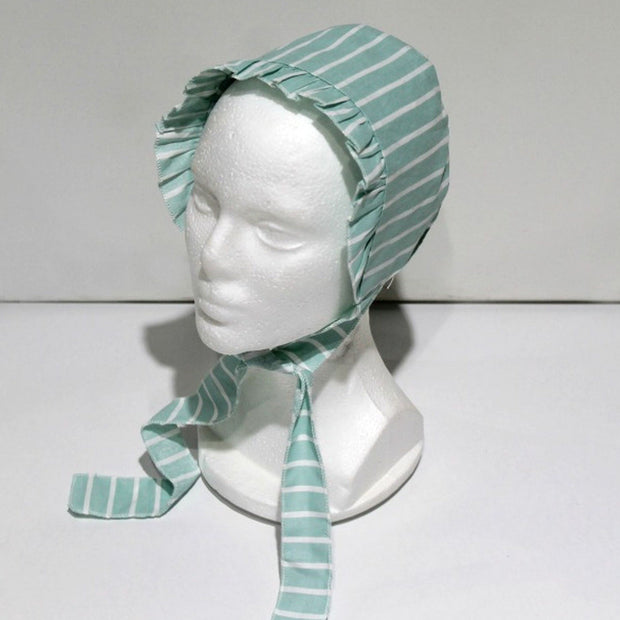 baby clothes - baby accessoires - baby cap - baby girl - baby boy - stripe pattern - green baby cap
