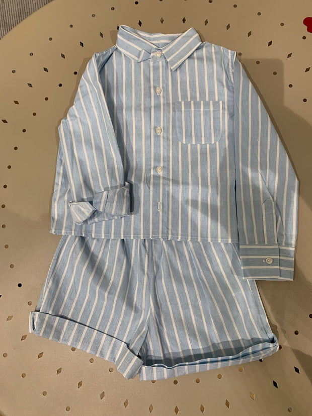 children's clothes - baby clothes - babyboy set - babyboy clothes - babyboy shorts - babyboy shirt - blue set - stripe pattern