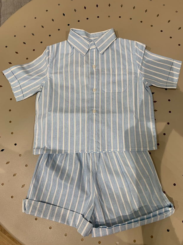 children's clothes - baby clothes - babyboy set - babyboy clothes - babyboy shorts - babyboy shirt - short sleeved set - stripe pattern