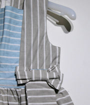 children's clothes - children's dress - summer dress - baby girl dress - baby girl clothes - stripe pattern - blue dress - gray dress