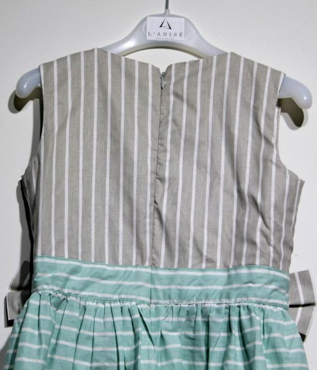children's clothes - children's dress - summer dress - baby girl dress - baby girl clothes - stripe pattern - mint dress - gray dress