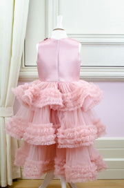 Pink fancy girl dress with multi-layer tulle skirt-Girl dress for special occasions