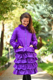 children's clothes - children's winter clothes - children's jacket - children's winter jacket - winter jacket - down jacket - purple jacket - long jacket - ruffled jacket