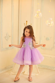 purple tulle girl dress for special occasion