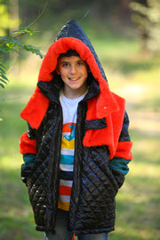 children's clothes - children's winter clothes - children's jacket - children's winter jacket - winter jacket - down jacket - black jacket - orange jacket