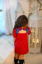 children's clothes - children's dresses - festive dress - christmas dress - girls dress - long sleeve dress - red dress