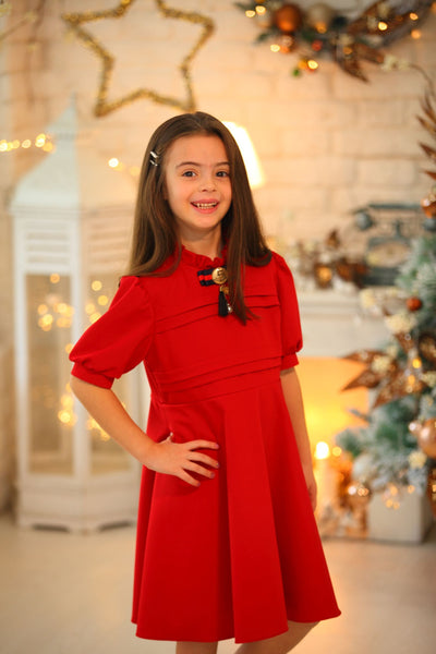 children's clothes - children's dresses - festive dress - christmas dress - girls dress - short sleeve dress - red dress