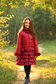 children's clothes - children's winter clothes - children's jacket - children's winter jacket - winter jacket - down jacket - red jacket - long jacket - ruffled jacket