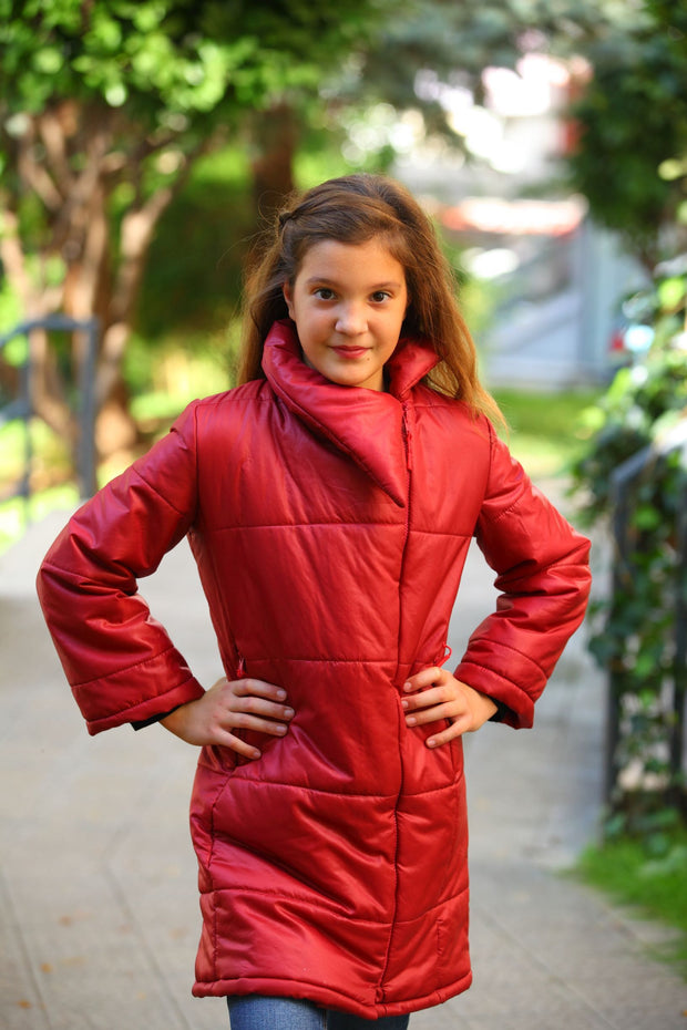 children's clothes - children's winter clothes - children's jacket - children's winter jacket - winter jacket - down jacket - long jacket - red jacket