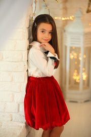 children's clothes - winter skirt - festive skirt - christmas skirt - girls skirt - velvet skirt - red skirt