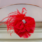 scarlet red hair clip, hair bow with rhinestones and red feather embellishments