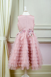 handmade pink ankle-length tulle princess dress with a multi-layered tulle skirt with ruffles and top embroidered with flowers and pearls, for flower girls, birthdays, wedding guests