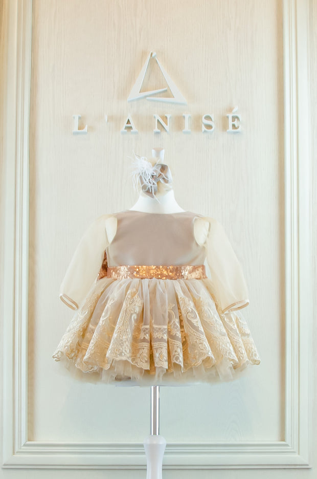Handmade beige and gold short princess tutu festive girl dress with short tulle skirt, gold lace embroidery, transparent long sleeves, gold sequin bow and a beige hair clip