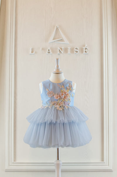 handmade, light blue baby girl party dress with multi-layer tulle skirt and floral embroidery, for birthdays, weddings, flower girls.