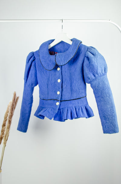 unique, handmade, short blue felt jacket for girls for fall, made of natural wool with accentuated shoulders, buttons, and ruffles