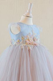 handmade, light blue baby girl flower girl dress with multi-colour tulle skirt and floral embroidery