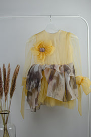 handmade, short, baby girl party dress, yellow with a tulle skirt, transparent sleeves and a 3D flower on the top, for special occasions