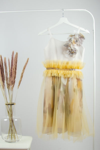handmade, short yellow girl dress for special occasions, with light tulle skirt, gathered waist and two 3D flowers on the top