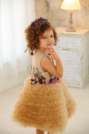 handmade short baby girl flower girl dress, beige with ruffled tulle skirt, top embroidered with red flowers and sequins