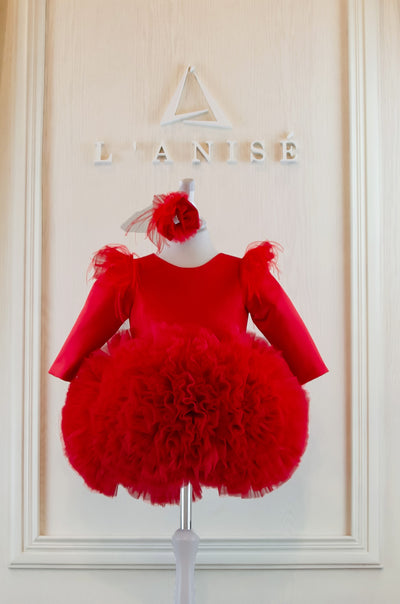 Scarlet red handmade tutu girl dress with ruffled tulle skirt, feather embellishment, long sleeves and hair clip, festive girl dress