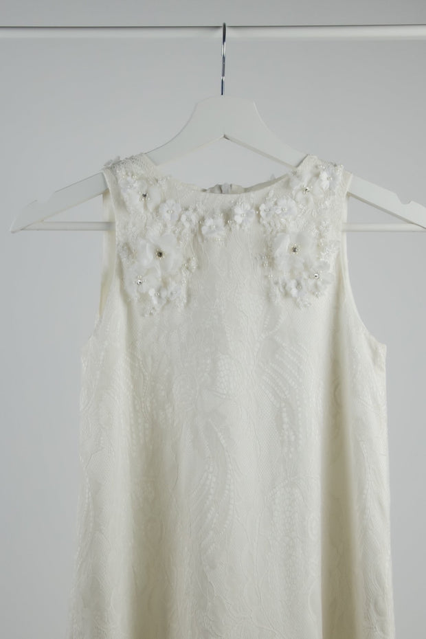 handmade, simple, white short flower girl dress with lace details for weddings, communion or birthdays