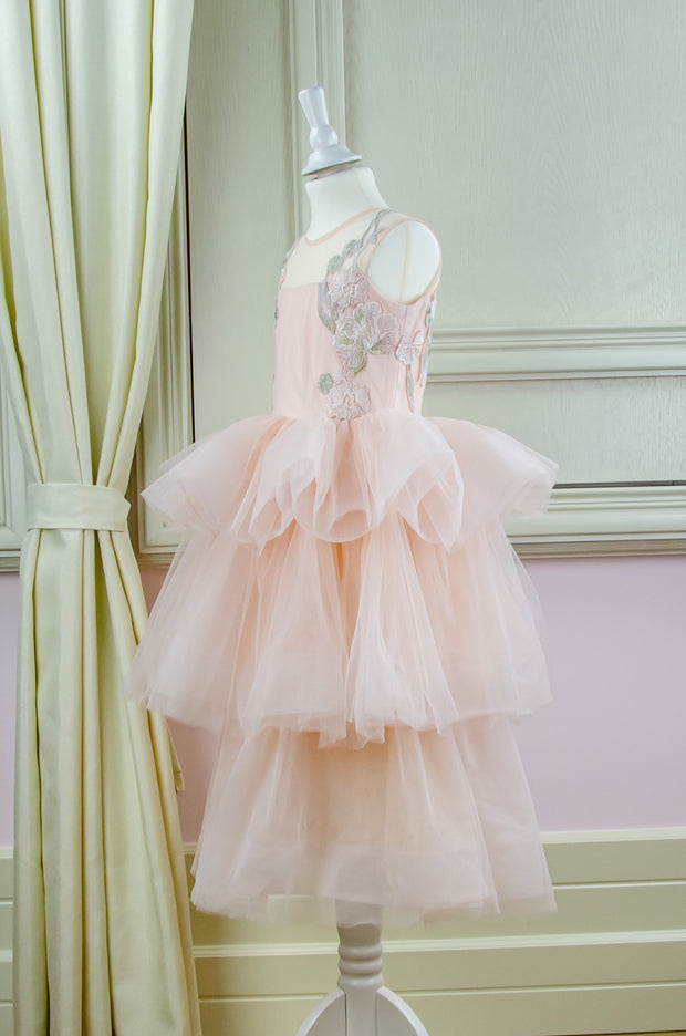 floor-length girl dress with multi-layer tulle skirt and floral embellishment for special occasions