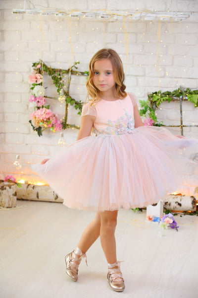 pink tulle girl dress for special occasions