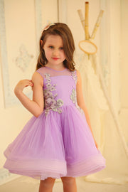 purple tulle girl dress with knee-length skirt