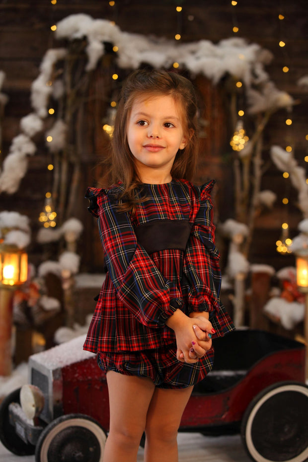 children's clothes - winter set - festive set - christmas set - girls set - checkered set